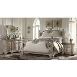 Orleans II White Wash Poster Linen Bedroom Set