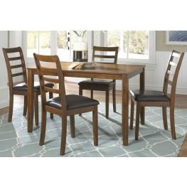Tucson Dining II Oak 5 Piece Rectangular Leg Table Set