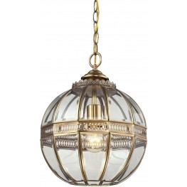 Randolph Brushed Brass And Clear Glass 1 Light Pendant