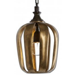 Zucca 1 Light Antique Gold Mini Pendant