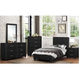Lorenzi Black Youth Upholstered Platform Bedroom Set