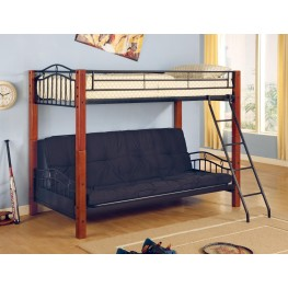 Black/Cherry Twin Over Full Bunk Bed withFuton 2249