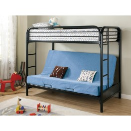 Fordham Black Twin Over Twin Bunk Bed With Futon