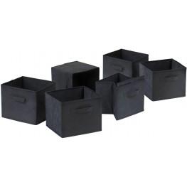 Capri Foldable Black Baskets Set of 6