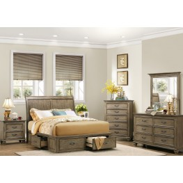 sylvania driftwood platform storage bedroom set from homelegance