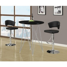 2347 Glossy Black / Chrome Metal Bar Set