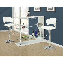 2350 White Glossy / Chrome Metal Bar Set