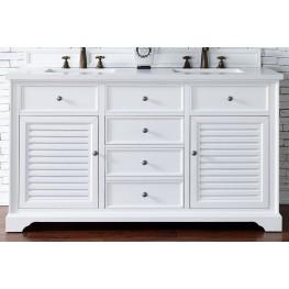 "Savannah 60"" Cottage White Double Vanity With 3Cm Snow White Quartz Top"
