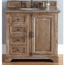 "Providence 36"" Driftwood Single Vanity With 2Cm Santa Cecilia Granite Top"