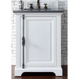 "Providence 26"" Cottage White Single Vanity With 3Cm Shadow Gray Quartz Top"