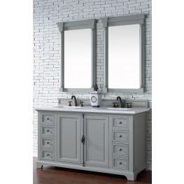 """Providence 60"""" Urban Gray Double Vanity With 3Cm Snow White Quartz Top"""