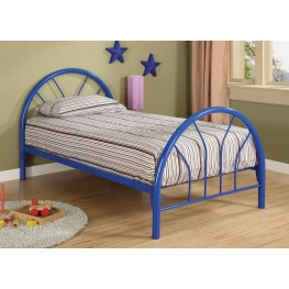 Rack em up Blue Twin Metal Bed