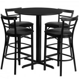 "24"" Round Black Table Set with Ladder Back Black Vinyl Bar Stool"