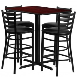 "24"" Rectangular Mahogany Table Set with Ladder Back Black Vinyl Bar Stool"