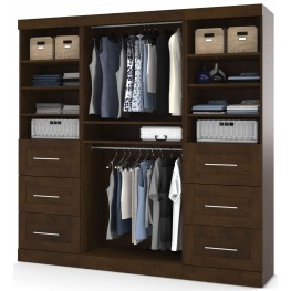 "Pur Chocolate 86"" Classic Open Storage Unit With 6 Drawers"
