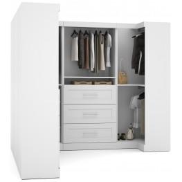 "Pure White 100"" Optimum L- Shaped Wardrobe"