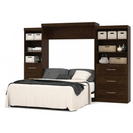 """Pur Chocolate 126"""" Drawer Storage Queen Wall Bed"""