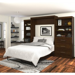 """Pur Chocolate 126"""" Queen Wall Extra Storage Bed"""