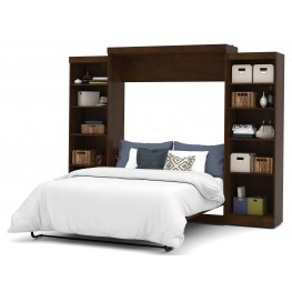"""Pur Chocolate 115"""" Queen Wall Storage Bed"""