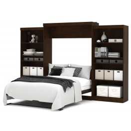 "Pur Chocolate 136"" Queen Wall Storage Bed"
