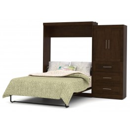 "Pur Chocolate 101"" Queen Wall Storage Bed"