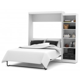 """Pur White 90"""" Queen Wall Storage Bed"""