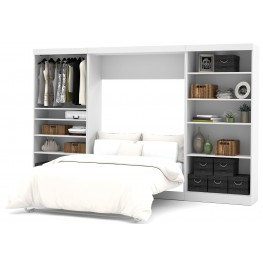 "Pure White 131"" Open Storage Full Wall Bed"