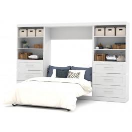 """Pure White 131"""" Euro Slat Mattress Drawer Full Wall Bed"""