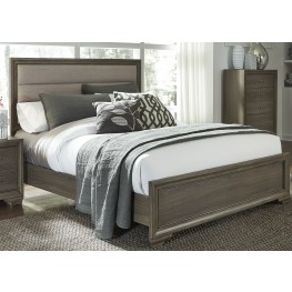 Hartly Gray Wash Queen Upholstered Panel Bed