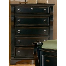 Heirloom Black Five Drawer Chest