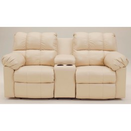 Kennard Cream Double Reclining Loveseat with Console