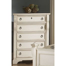 Heirloom White Five Drawer Chest