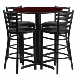 "30"" Round Mahogany Table Set with Ladder Back Black Vinyl Bar Stool"