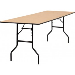 "96"" Rectangular Wood Folding Banquet Table"