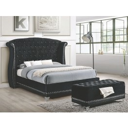 Barzini Black Upholstered King Upholstered Platform Bed