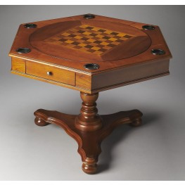 Plantation Cherry Alexander Olive Ash Burl Hexagonal Game Table