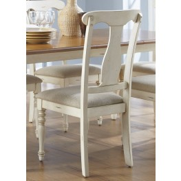 Ocean Isle Upholstered Bisque with Natural Pine Splat Back Side Chair Set of 2