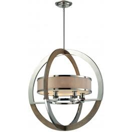 Crestwood Polished Nickel And Chestnut 6 Light Pendant