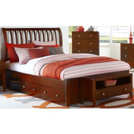Pulse Cherry King Rake Sleigh Bed With Storage