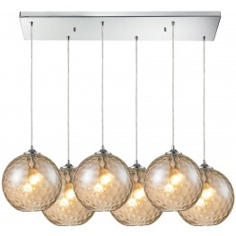 Watersphere Polished Chrome And Champagne Glass 6 Light Pendant