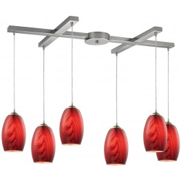 31610-6 Tidewaters Satin Nickel And Ruby Glass 6 Light Pendant