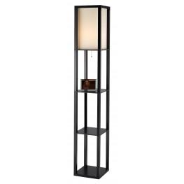 Titan Black Tall Shelf Floor Lamp