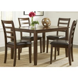 Bradshaw Russet 5 Piece Rectangular Leg Dining Room Set
