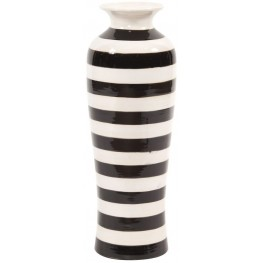 Black & White Stripe Glaze Large Vase