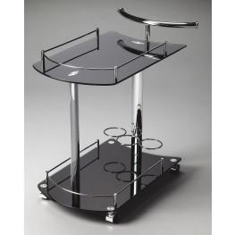 3238309 Penelope Loft Black Glass Serving Cart