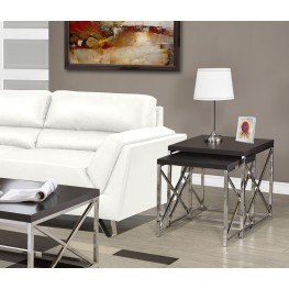 2 Piece Cappuccino Hollow-Core/Chrome Metal Nesting Tables