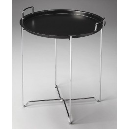 Midtown Loft Black Metal Tray Table