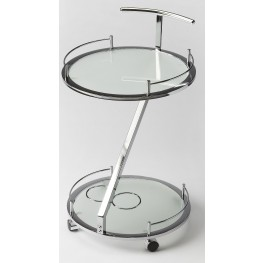 Butler Loft Gigi Modern Frosted Glass Serving Cart