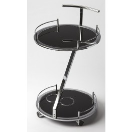 Butler Loft Gigi Modern Black Glass Serving Cart