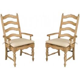 Homecoming Vintage Pine Ladderback Arm Chair Set of 2